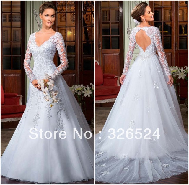d5327f9a45f19 New arrivals 2014 Lace Wedding dresses with keyhole back v neck long sleeve  open back bridal gown dress free shipping LT07