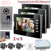 Sunflowervdp Video Intercoms Fingerprint/Code Access Control Function 4-Wire Video Door Phone IP65 Waterproof Camera Full HD 1V3