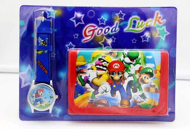 Super Mario kids Sets watch and wallet purse wrist quartz Christmas Children gif