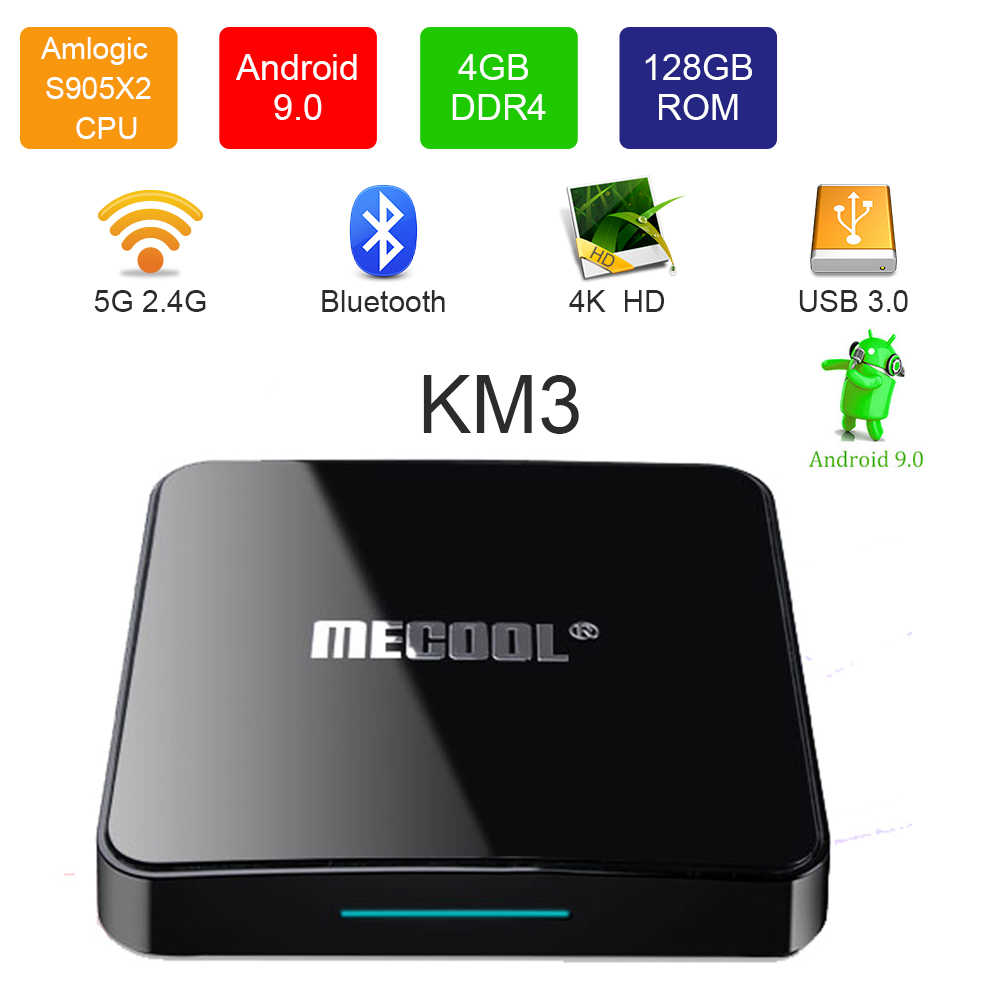 ميكول KM3 جوجل مصدق Amlogic S905X2 4GB DDR4 RAM 128GB ROM 5G واي فاي بلوتوث 4.0 أندرويد 9.0 4K صندوق التلفزيون ليوتيوب