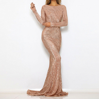 O Neck Sequined Evening Party Dress Maxi Dresses Floor Length Elegant Champagne Gold Sequin Dress Gown