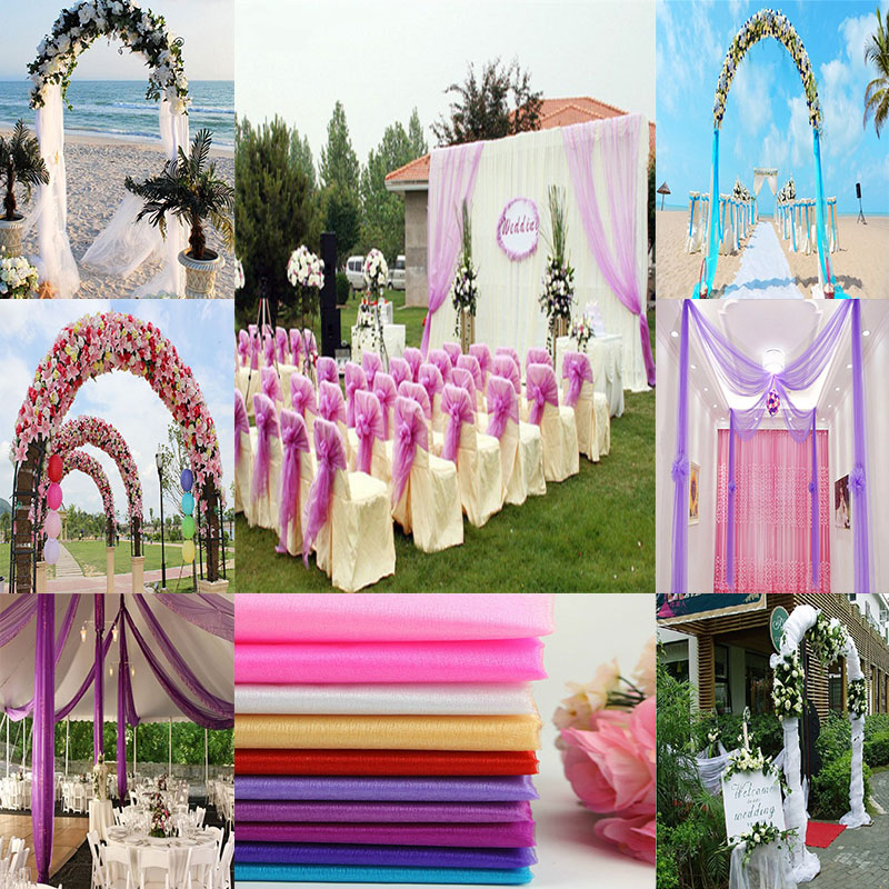 Diy Wedding Arch With Tulle: 48CM*5M Wedding Crystal Organza Tulle Fabric Venue Layout