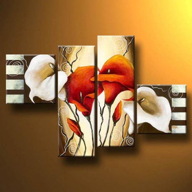 4 piece scents of callas not framed hand painted modern floral oil