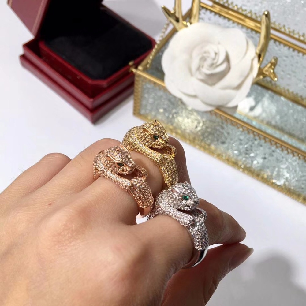 Brand 2018 new Version copper plaed gold Leopard ring with full cz stones panther head ring high quality