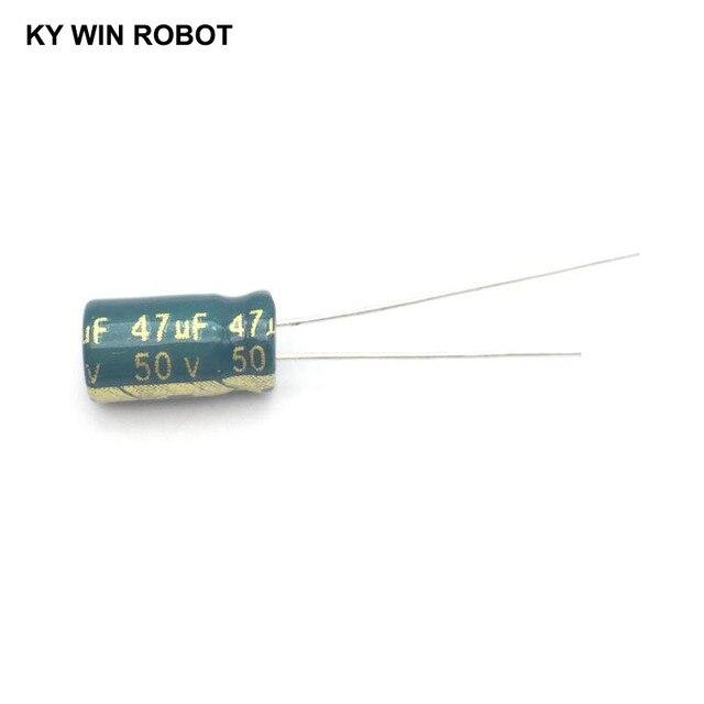 50 ピース/ロット 50 ボルト 47 uf 6 × 12 ミリメートル高周波低インピーダンスアルミ電解コンデンサ 47 uf 50 ボルト