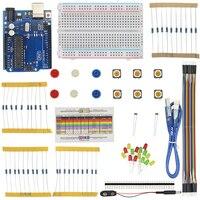 Podstawowe Startowy Zestaw do Arduino Breadboard Włącznik Światła LED USB Kabel Uchwyt Baterii Photoresistance Rezystor Kit dla UNO R3