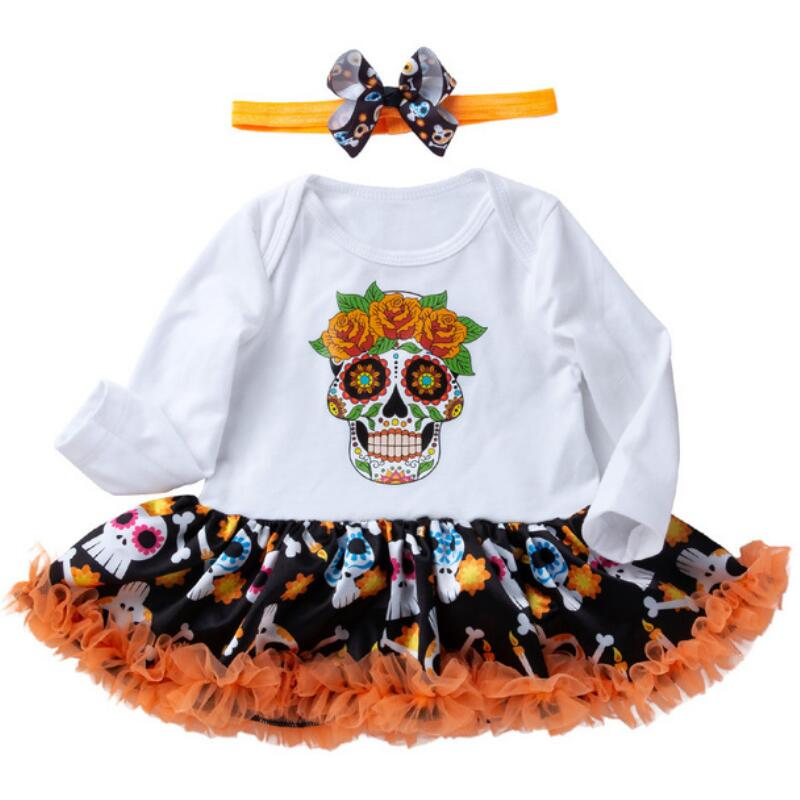 Adorable Lace Ruffle Sleeves Pumpkin Print Bowknot Rompers Headband Outfits Baby Girls Halloween Costumes