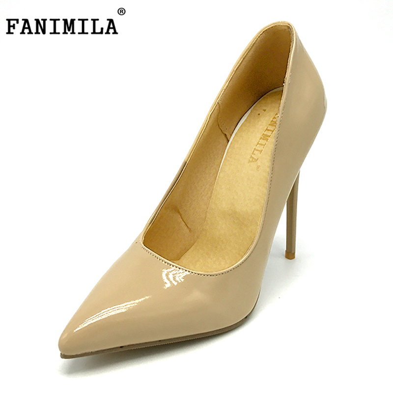 FANIMILA Autumn Big Size Women Pumps Sexy Pointed Toe Thin High Heels Shoes Woman Brand New Design Wedding Party Shoe Size 34-47 new sexy thin high heels shoes women pumps 2018 spring round toe platform single shoes women wedding party big size 34 45 27 5cm