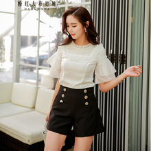 Dabuwawa Womens New Black Fashion Hight Waist Wide Leg Shorts Summer Double-breasted Button D17BSP009