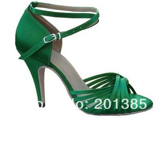 Nya Kvinnor Gröna Satin Cross Straps Balsal Latin Dance Shoes Partihandel Salsa Dance Shoes ALLA STORLEK