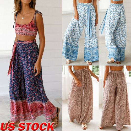 Women's Palazzo Floral   Wide     Leg     Pants   High Waist Loose Culottes Long Trousers Women Casual   Pants