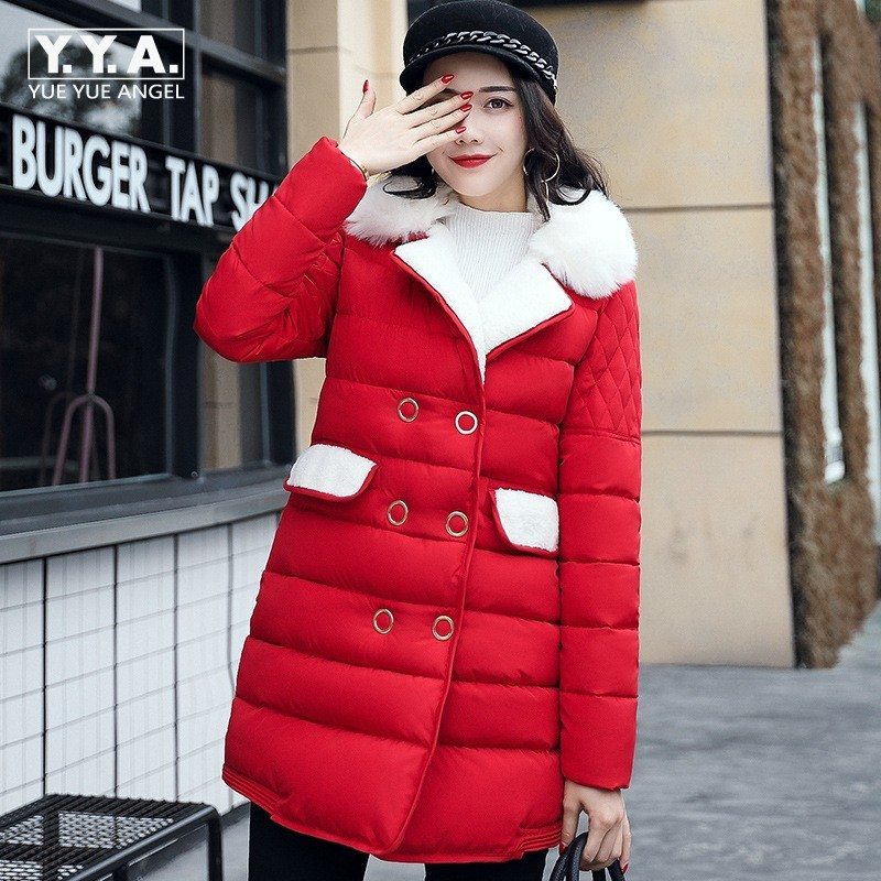 2017 New Big Faux Fur Lapel Collar Womens Parka Double Breasted Womens Winter Jacket Thick Down Jacket Long Sleeve Coat Female