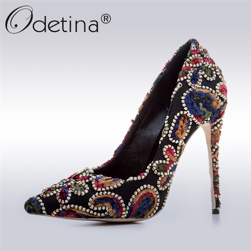 Odetina 2017 Fashion Ladies High Heels Extreme Pumps Pointed Toe Women Shoes Thin High-heeled Party Shoes Flower Plus Size 33-43 2017 new summer women flock party pumps high heeled shoes thin heel fashion pointed toe high quality mature low uppers yc268