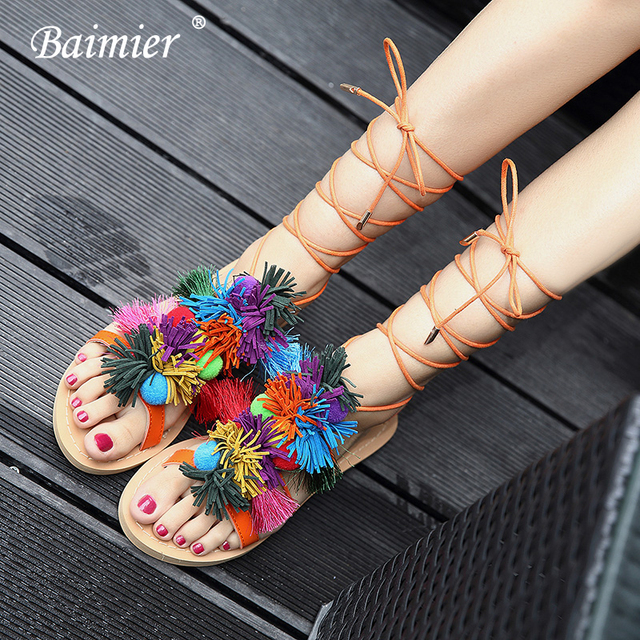 5891e70f0f780 Baimier 2018 Fringe Flat Gladiator Sandals Women Bohemian Style Ankle Strap Flat  Sandals Women Summer Beach Women Sandals