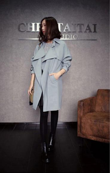 Мода Осень запад плюс размер S-2XL sexy тонкий отложным воротником лоскутное полная длина рукава пояса bodycon Женщины тренч 3H49