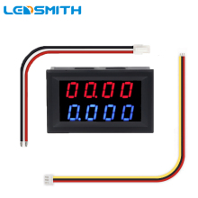 цена на LEDSMITH  DC 0-200V 10A Digital Voltmeter Ammeter Blue + Red LED Dual Display Amp Volt Meter Car Voltage Current Monitor
