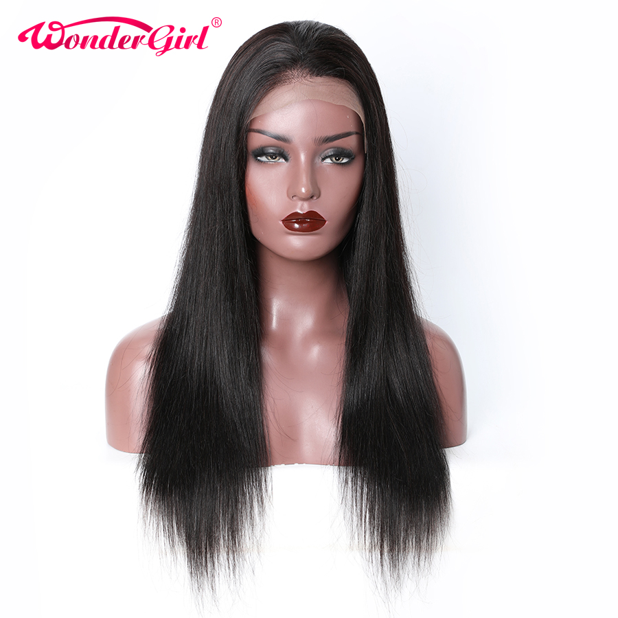 Wonder Girl T Part Lace Front Human Hair Wigs For Women Black Remy Hair Pre Plucked Brazilian Straight Lace Wig With Baby Hair