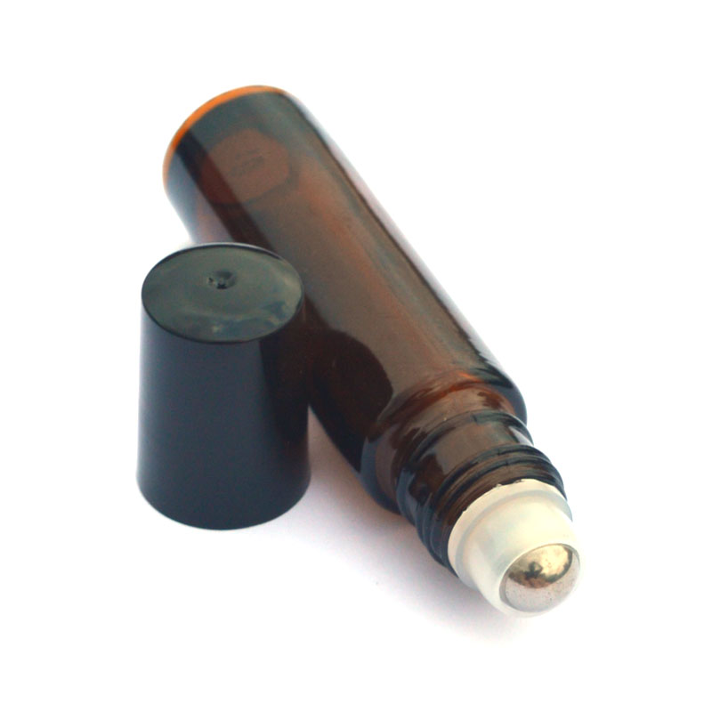1pcs Amber 10ml Roller Glass Bottle Empty Fragrance Perfume Essential Oil Bottle 10ml Roll-On Black Plastic Cap