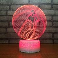 Novelty Vision Led 7 Colors 3D Night Light Basketball Modelling Lighting Fixture Atmosphere Table Lamp Bedside Decor Kids Gifts
