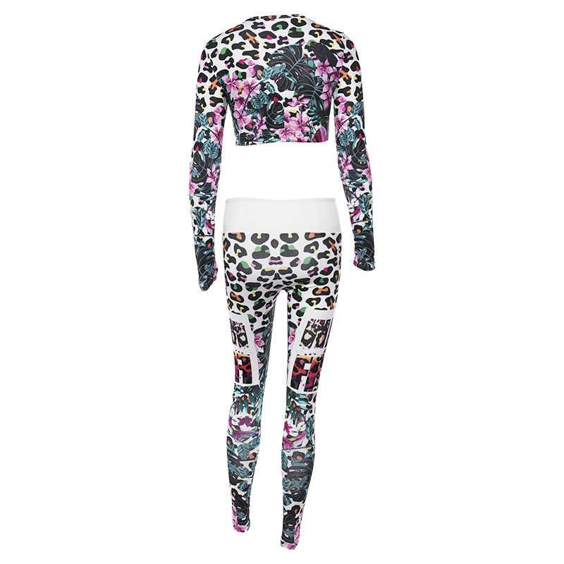 LAISIYI rahat dikiş uzun kollu zayıflama yüksek çiçek kapşonlu kravat kemer spor elbise yeni sonbahar ve kış kadın fitness spor seti