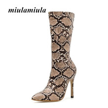 Miulamiula New High Root Women Shoes Long Boots Sexy Snake Pattern Pointed Toe Snake Skin Style Sexy Banquet Shoes Woman Shoes(China)
