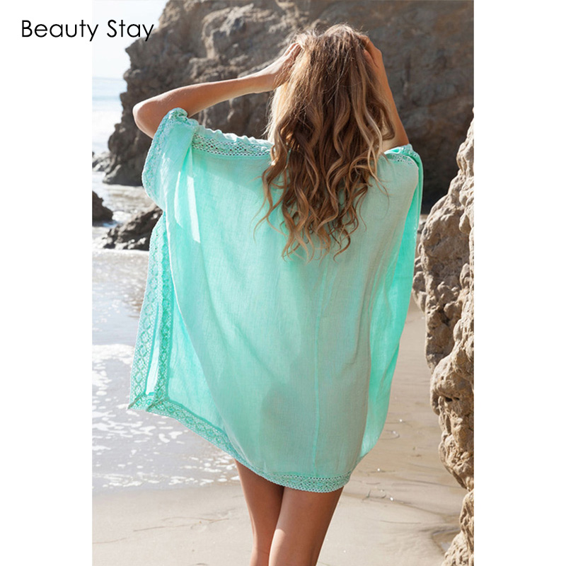 Beautystay Women Lace Collar Sexy Beach Dress Loose Plus Size Cotton - Ropa de mujer - foto 3