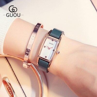 GUOU 2018 New Quartz Women Watches Luxury Brand Fashion Square dial Wristwatch Ladies Genuine Leather Watch relogio feminino in Women 39 s Watches from Watches