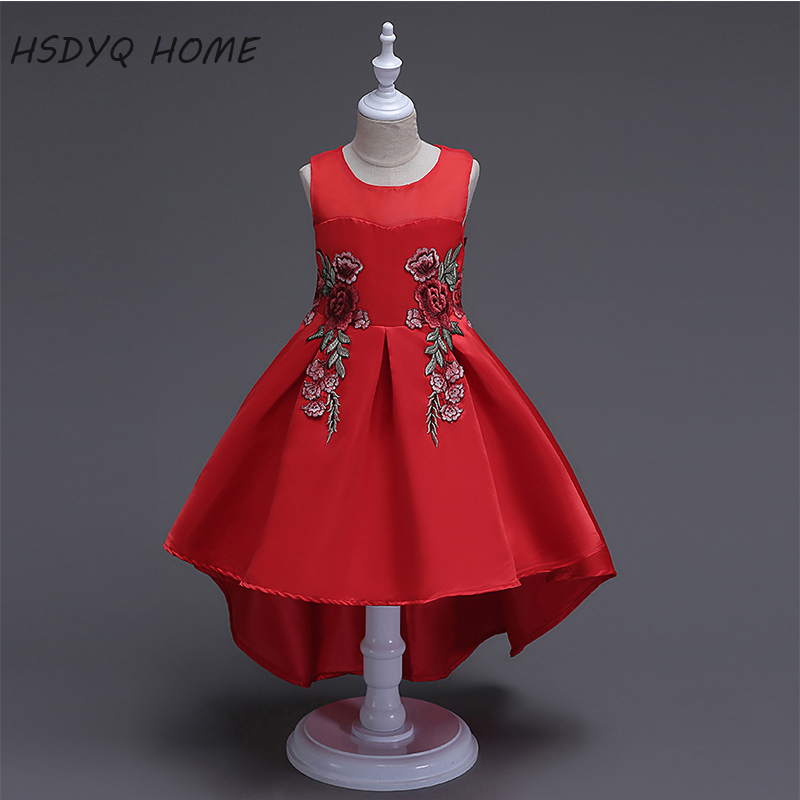 Free shipping Appliques   Flower     Girl     Dresses   2017 New Arrival cheap Kids   Dress   Beautiful Children gown real photo