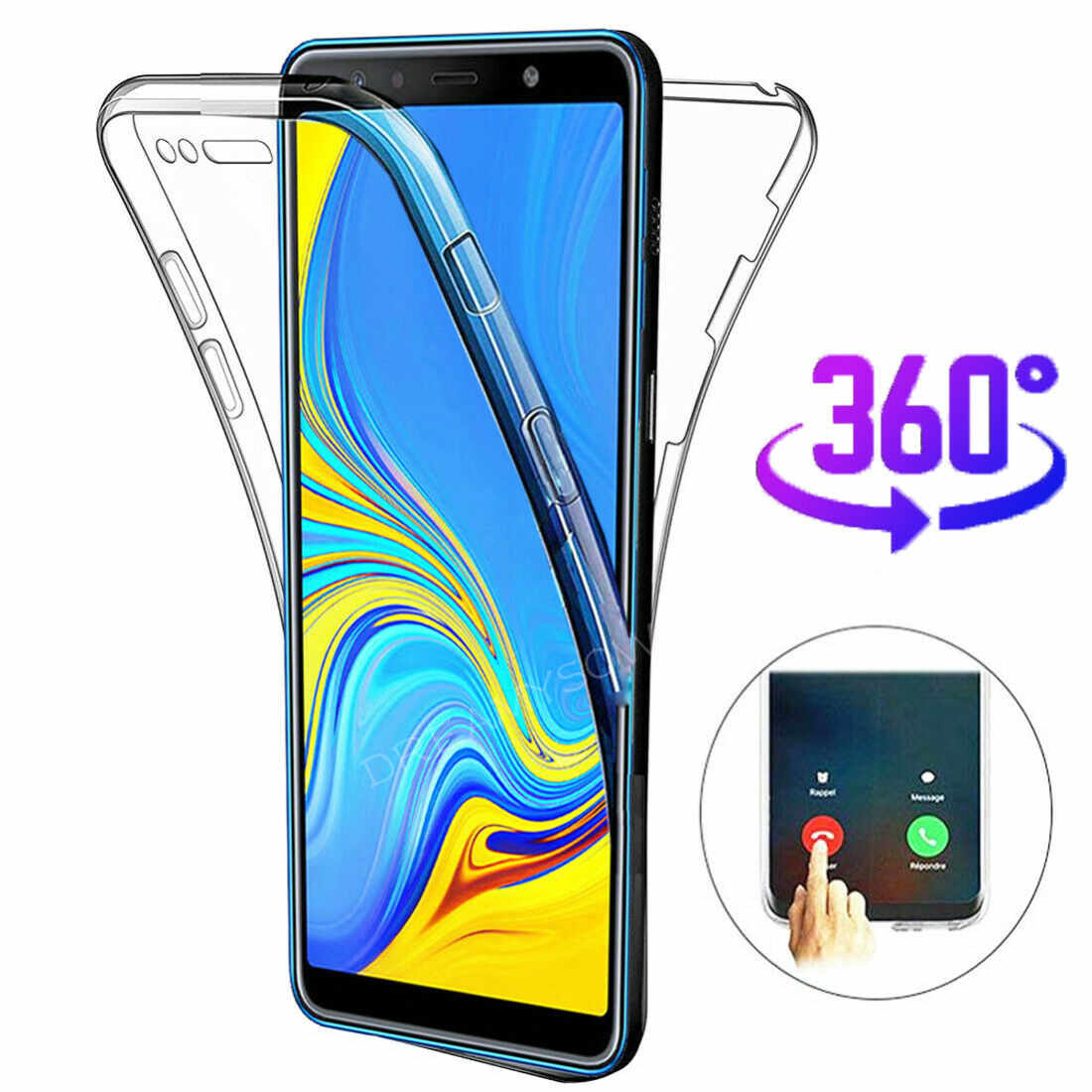 360 Full body Case For Samsung Galaxy A50 A40 A30 A10 M10 S10 E S9 S8 A6 A8 J6 J4 Plus A7 A750 2018 Soft Clear TPU Cover Coque