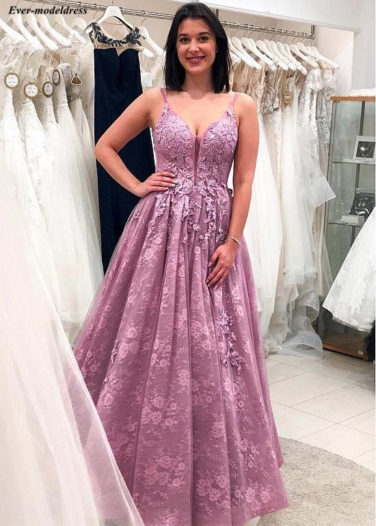 Lace   Prom     Dresses   Long 2019 A-Line Appliques Deep V-Neck Lace Up Back Floor Length Pink Formal Party Gowns Vestidos De Festa