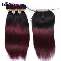 Fashion Lady Pre Colored Ombre Brazilian Hair 3 Bundles With Lace Closure 1B/ 99J Straight Weave Human Hair Bundle Pack Non Remy