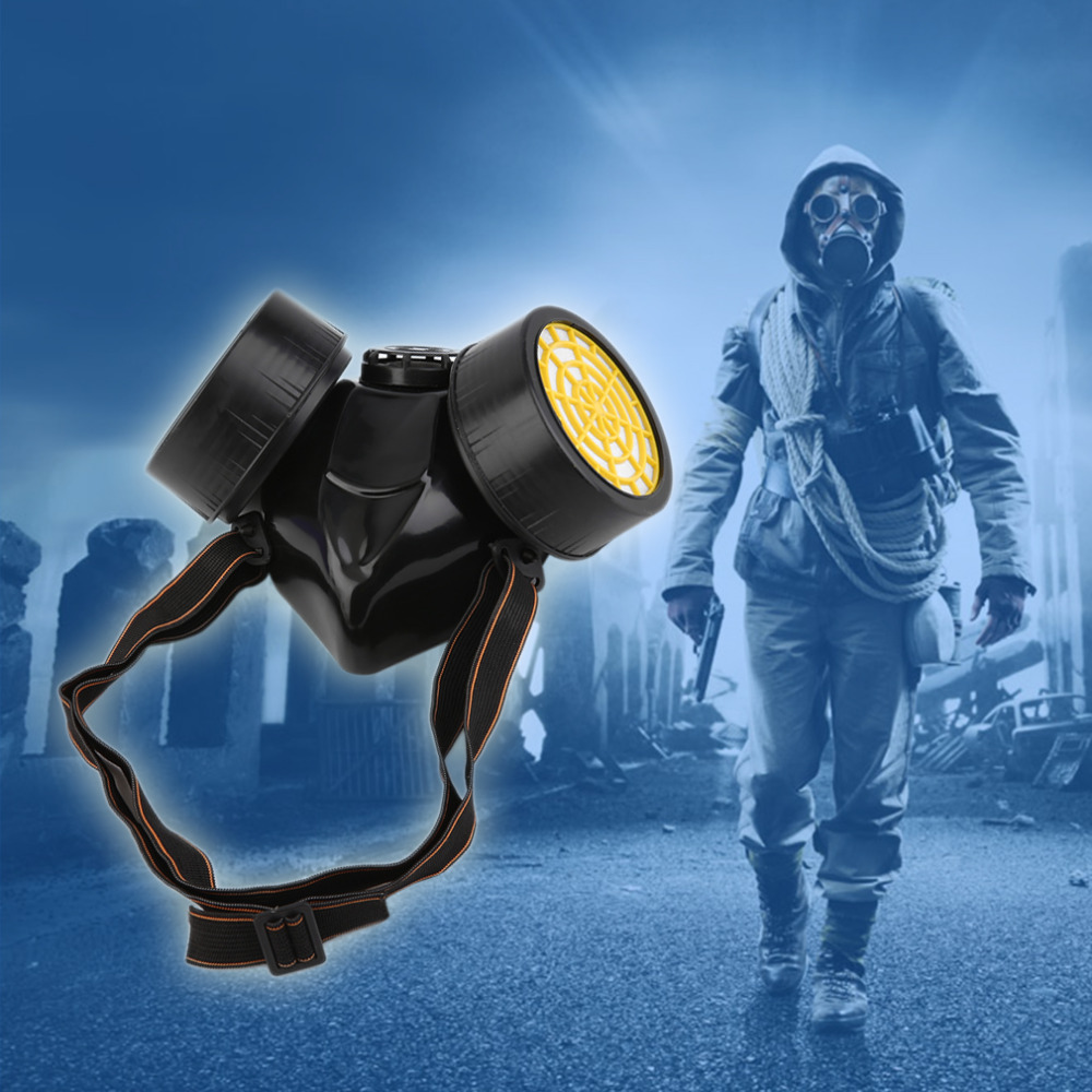 Black Gas Mask Emergency Survival Safety Respiratory Gas Mask Anti Dust Paint Respirator Mask with 2 Dual Protection Filter full face mask men women outdoor motorcycle cycling sunscreen soft lycra head cover safety mask anti dust protection multi color