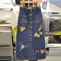 New Spring Summer Solid Printed Pattern Denim Knee Length Female Skirts Women S Wild Thin A
