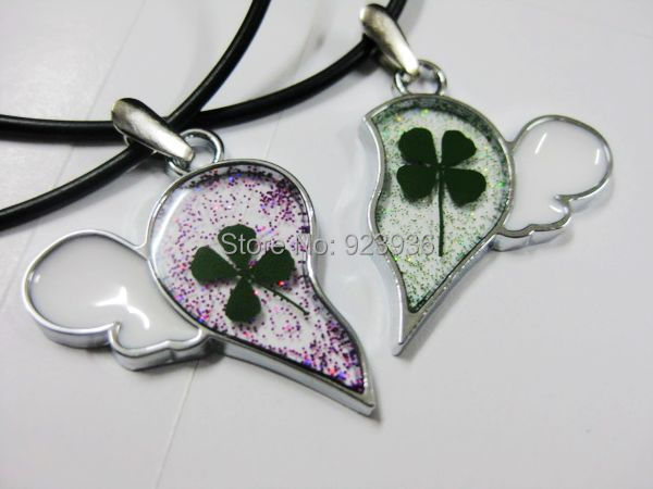FREE SHIPPING 12 PCS real clover pendant lucky love popular beauty modern angel wing alluring image
