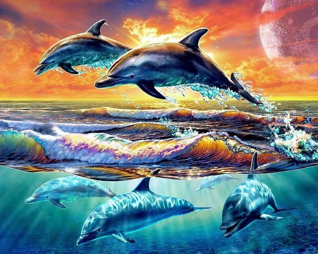 1311b5a30cf 5D DIY Diamond Painting Dolphin Embroidery Diamond Painting Cross Stitch  Sunset Water Dolphin Watercolor Mosaic Painting