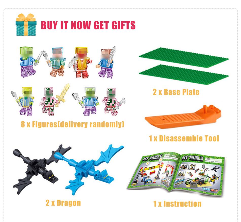 qunlong мой мир село замок здания блоки игрушки дети подарок совместимость легое minecrafted строительство блоки для города мальчика подарок