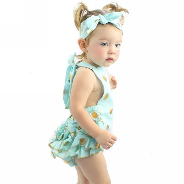 e42b70af434 Mint Aqua Blue Metallic Gold Polka Dot Bubble Ruffle Romper+Headband Set Birthday  Outfit