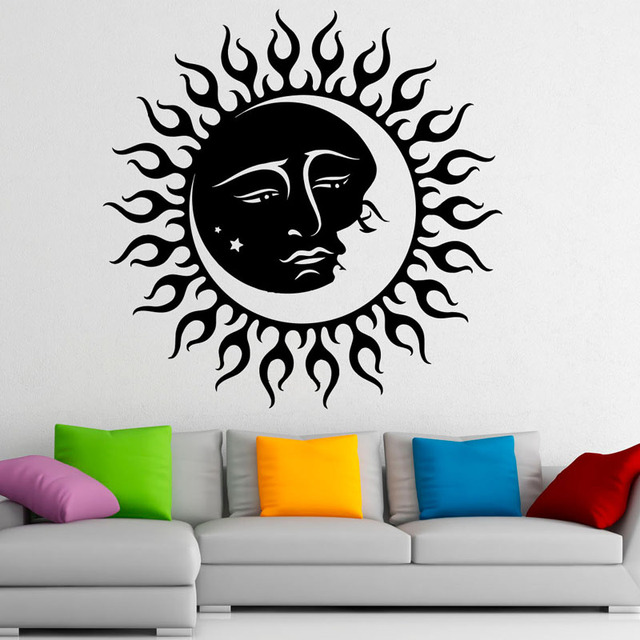Moon Sun Creative Art Design Wall Decals Decor For Kids Bedroom Vinyl Wall  Stickers Home Decoration