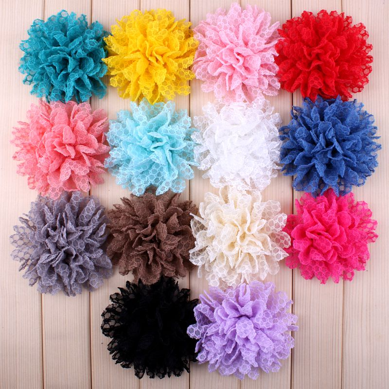 """30pcs/lot 4"""" 14 Colors Hot Sale Solid Ballerina Lace Flower For Girl Hair Accessories Artificial Fabric Flowers For Headbands"""