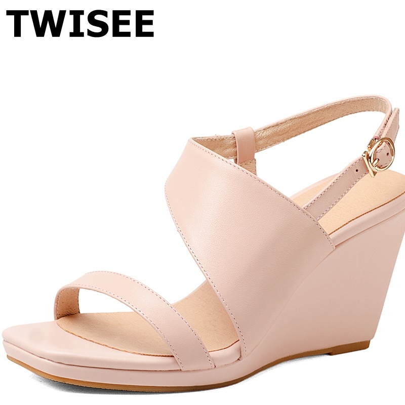 TWISEE Platform woman casual shoes peep toe Wedges heels 8.5 cm summer sandals Genuine Leather ladies women shoes sandals phyanic 2017 gladiator sandals gold silver shoes woman summer platform wedges glitters creepers casual women shoes phy3323