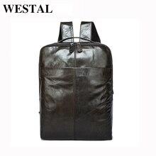 WESTAL Men Backpacks for laptop Genuine Leather Men's Travel Bag back pack man male Backpack male Casual backpacks for men 9081