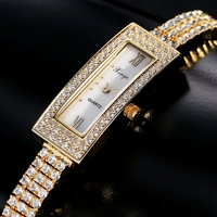 Xinge Top Brand Luxury Women Bracelet Watch Stainless 3A Zircon Crystal Quartz Watch Women Dress Business