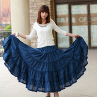 Summer Womens Long Skirts Candy Colors Plus Size Cotton Falda Female Casual Beach Bohemia Ruffles Big