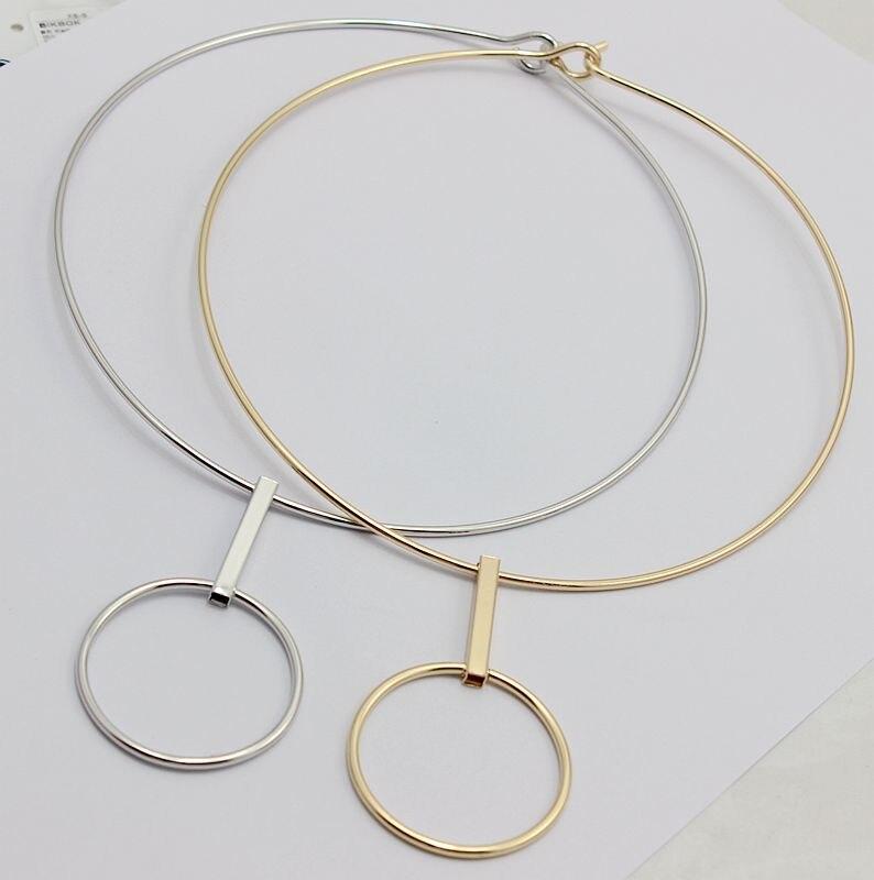 2016 minimalist design earrings collar suit Circular circle geometry necklace metal collar
