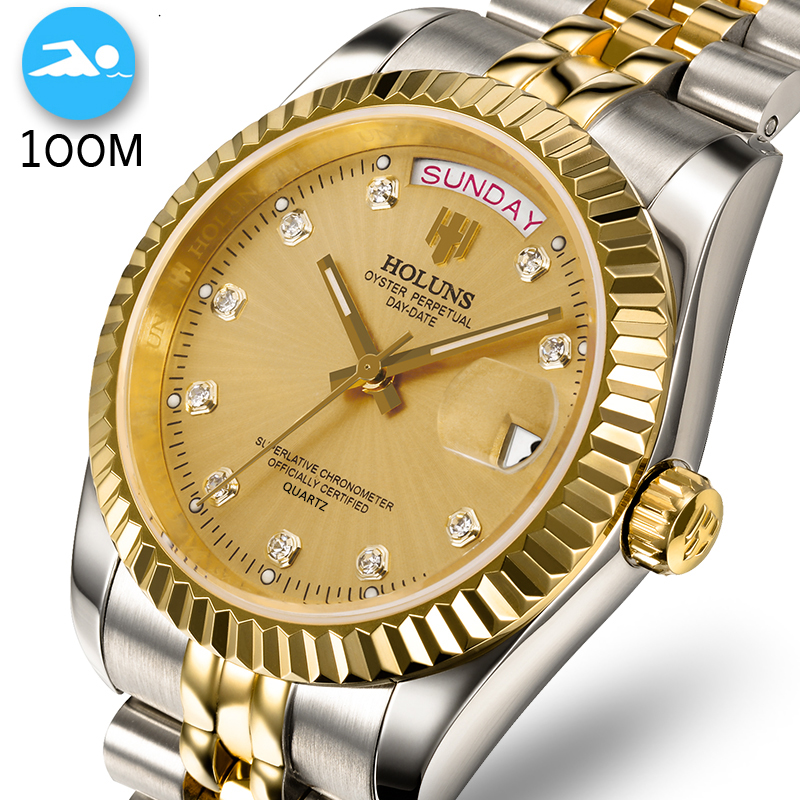 100M Waterproof Men Watch Swim Full Stainless Steel Business Man Watches Automatic Date Week Gold Men Watch Relogio Masculino