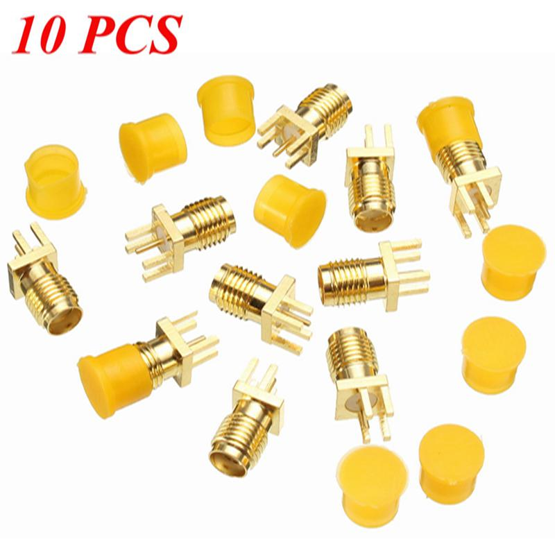 10Pcs SMA Female Jack Nut Bulkhead Solder Edge 1.2 mm Space PCB Clip Mount Straight RF Connector Plug 10x rf adapter connector sma female panel mount with nut bulkhead handle solder