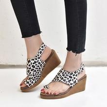 Europe 2019 Summer Women Sandals High Heels Leopard Flat Platform Wedges Shoes for Fashion Casual Plus Size 33-43