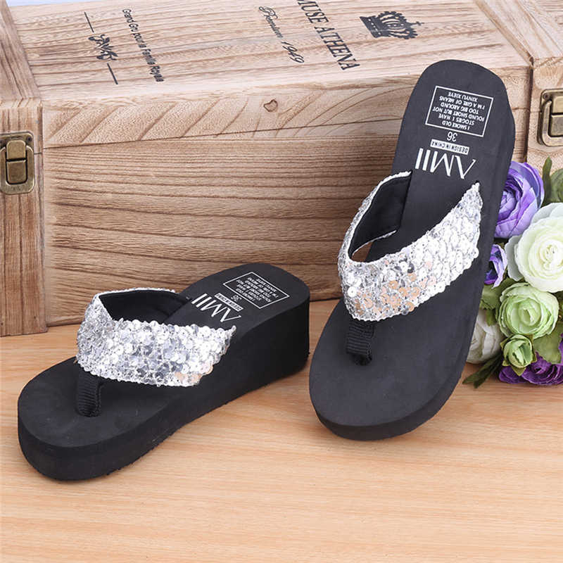 1686dc740a6e ... New 1Pair Comfortable Summer Soft Women Wedge Sandals Sequin Thong Mid  Heels Platform Slippers ...