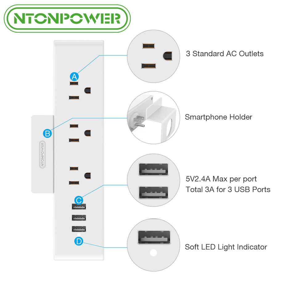 NTONPOWER MNC Wall Mounted USB Power Socket US Standard Electrical ...
