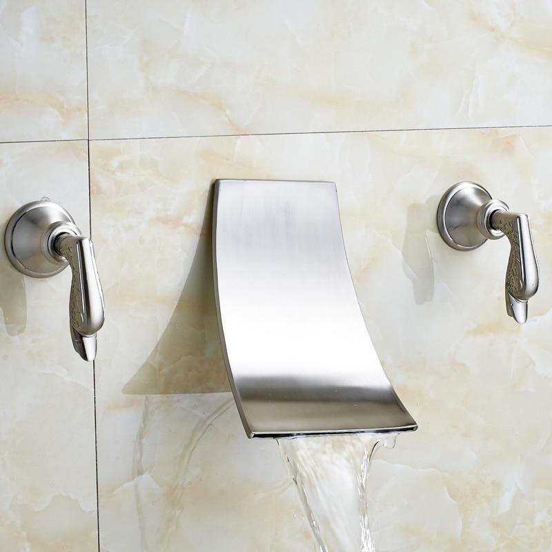Popular Wall Mount Waterfall Tub Faucet Brushed Nickel Buy Cheap